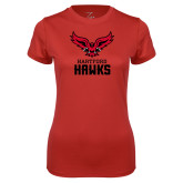 Ladies Syntrel Performance Red Tee-Hartford Hawks w/ Hawk Stacked