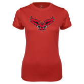 Ladies Syntrel Performance Red Tee-Full Body Hawk