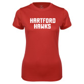 Ladies Syntrel Performance Red Tee-Hartford Hawks Stacked