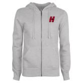 Ladies Grey Fleece Full Zip Hoodie-Primary Logo Mark H