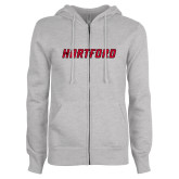 ENZA Ladies Grey Fleece Full Zip Hoodie-Hartford Logotype