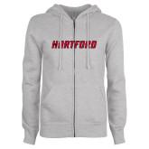 Ladies Grey Fleece Full Zip Hoodie-Hartford Logotype