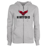 ENZA Ladies Grey Fleece Full Zip Hoodie-Hartford w/ Hawk Combination Mark