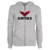 Ladies Grey Fleece Full Zip Hoodie-Hartford w/ Hawk Combination Mark