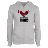 ENZA Ladies Grey Fleece Full Zip Hoodie-Hartford Hawks w/ Hawk Stacked