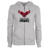 Ladies Grey Fleece Full Zip Hoodie-Hartford Hawks w/ Hawk Stacked