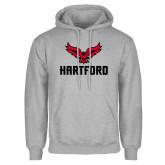 Grey Fleece Hoodie-Hartford w/ Hawk Combination Mark