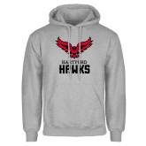 Grey Fleece Hoodie-Hartford Hawks w/ Hawk Stacked