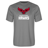 Performance Grey Concrete Tee-Hartford Hawks w/ Hawk Stacked