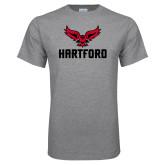 Grey T Shirt-Hartford w/ Hawk Combination Mark