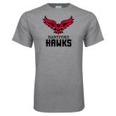 Grey T Shirt-Hartford Hawks w/ Hawk Stacked