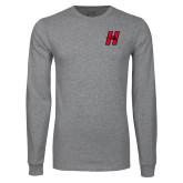 Grey Long Sleeve T Shirt-Primary Logo Mark H