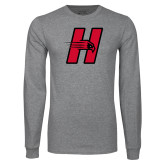 Grey Long Sleeve T Shirt-Primary Logo Mark H