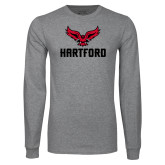 Grey Long Sleeve T Shirt-Hartford w/ Hawk Combination Mark