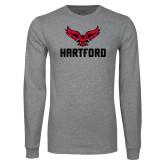 Grey Long Sleeve T Shirt-Hartford w/ Hawk Combination Mark