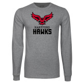 Grey Long Sleeve T Shirt-Hartford Hawks w/ Hawk Stacked