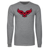 Grey Long Sleeve T Shirt-Full Body Hawk