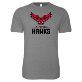 Next Level SoftStyle Heather Grey T Shirt-Hartford Hawks w/ Hawk Stacked