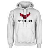 White Fleece Hoodie-Hartford w/ Hawk Combination Mark