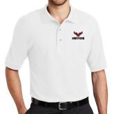 White Easycare Pique Polo-Hartford w/ Hawk Combination Mark