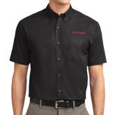 Black Twill Button Down Short Sleeve-Hartford Logotype