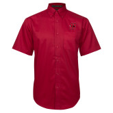 Red Twill Button Down Short Sleeve-Primary Logo Mark H