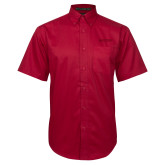 Red Twill Button Down Short Sleeve-Hartford Logotype