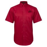Red Twill Button Down Short Sleeve-Hartford w/ Hawk Combination Mark