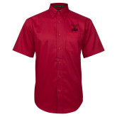 Red Twill Button Down Short Sleeve-Hartford Hawks w/ Hawk Stacked