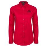 Ladies Red Twill Button Down Long Sleeve-Hartford w/ Hawk Combination Mark