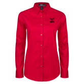 Ladies Red Twill Button Down Long Sleeve-Hartford Hawks w/ Hawk Stacked