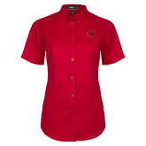 Ladies Red Twill Button Up Short Sleeve-Primary Logo Mark H