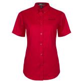 Ladies Red Twill Button Up Short Sleeve-Hartford Logotype