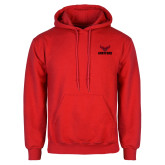 Red Fleece Hoodie-Hartford w/ Hawk Combination Mark