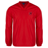 V Neck Red Raglan Windshirt-Primary Logo Mark H