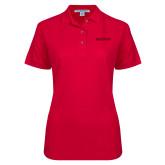 Ladies Easycare Red Pique Polo-Hartford Logotype