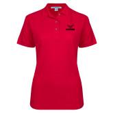 Ladies Easycare Red Pique Polo-Hartford w/ Hawk Combination Mark