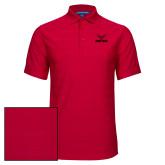 Red Horizontal Textured Polo-Hartford w/ Hawk Combination Mark