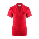 Ladies Red Horizontal Textured Polo-Primary Logo Mark H