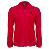 Fleece Full Zip Red Jacket-Primary Logo Mark H