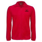 Fleece Full Zip Red Jacket-Hartford w/ Hawk Combination Mark