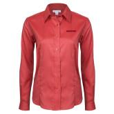 Ladies Red House Red Long Sleeve Shirt-Hartford Logotype