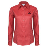 Ladies Red House Red Long Sleeve Shirt-Hartford w/ Hawk Combination Mark