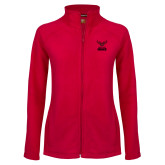 Ladies Fleece Full Zip Red Jacket-Hartford Hawks w/ Hawk Stacked