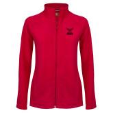 Ladies Fleece Full Zip Red Jacket-Hartford Hawks w/ Hawk Stacked