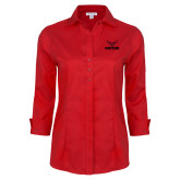 Ladies Red House Red 3/4 Sleeve Shirt-Hartford w/ Hawk Combination Mark