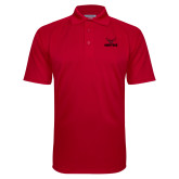 Red Textured Saddle Shoulder Polo-Hartford w/ Hawk Combination Mark