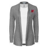 Ladies Heather Grey Open Front Cardigan-Primary Logo Mark H