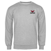 Grey Fleece Crew-Hartford w/ Hawk Combination Mark