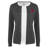 Ladies Charcoal Cardigan-Primary Logo Mark H